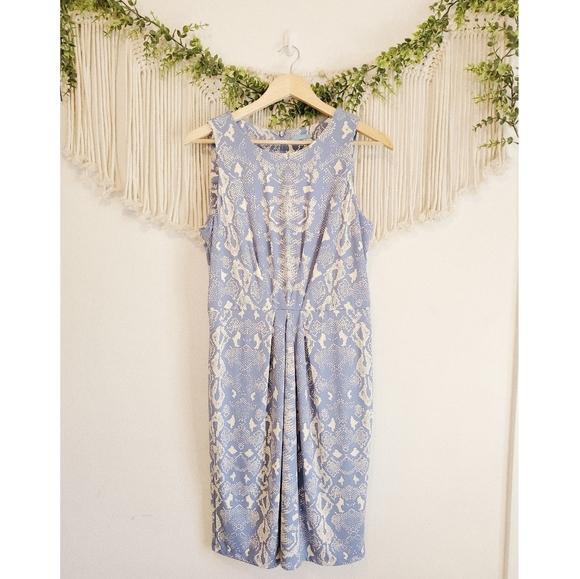 J.MCLAUGHLIN Blue Snakeskin Pleated Mini Dress L